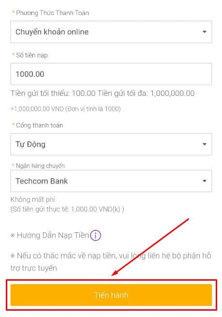Chọn ngân hàng và số tiền bạn muốn thanh toán trực tuyến
